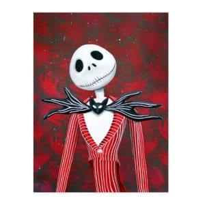 Holiday Jack, Jack skellington art, a nightmare before christmas, skull art, pumpkin king, tim burton, disney art, signed art print, lowbrow art, skull art, halloween art, christmas painting