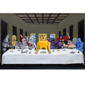 Robot last supper giclee nws