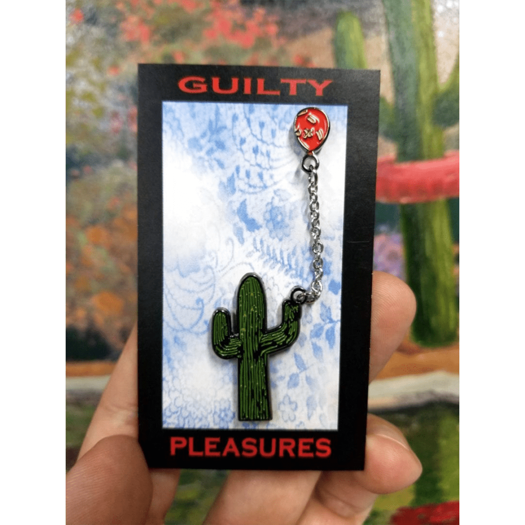 guilty pleasures cactus with balloon lapel pin nws