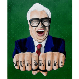 harry caray cubs win giclee nws